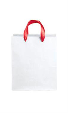 Medium White Premium Folded Top Paper Bags Red Ribbon Handles
