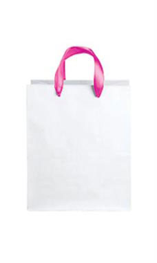 Medium White Premium Folded Top Paper Bags Hot Pink Ribbon Handles