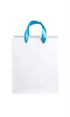 Medium White Premium Folded Top Paper Bags Light Blue Ribbon Handles