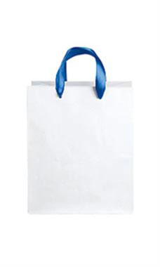 Medium White Premium Folded Top Paper Bags Royal Blue Ribbon Handles
