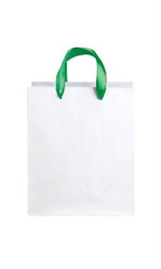 Medium White Premium Folded Top Paper Bags Kelly Green Ribbon Handles