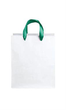 Medium White Premium Folded Top Paper Bags Dark Green Ribbon Handles