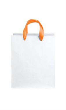 Medium White Premium Folded Top Paper Bags Orange Ribbon Handles