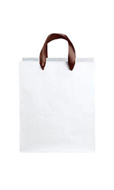 Medium White Premium Folded Top Paper Bags Brown Ribbon Handles