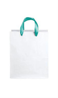 Medium White Premium Folded Top Paper Bags Turquoise Ribbon Handles