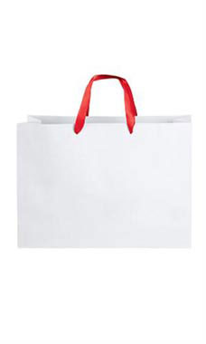 Large White Premium Folded Top Paper Bags Red Ribbon Handles