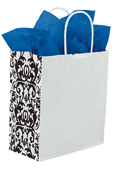 Medium White Damask Gusset Paper Shopping Bags - Case of 250
