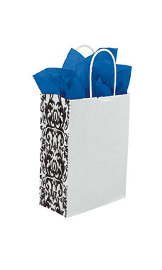 Small White Damask Gusset Paper Shopping Bags - Case of 250