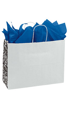 Large White Damask Gusset Paper Shopping Bags - Case of 250
