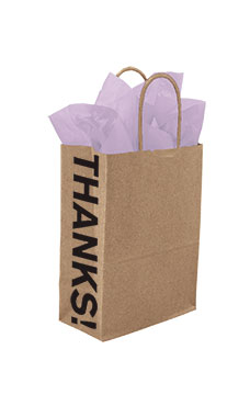 Small Kraft Thanks! Gusset Paper Shopping Bags - Case of 250