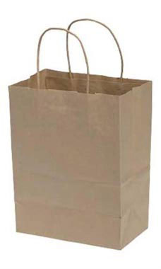 Medium Natural Kraft Paper Shopping Bags - Case of 250