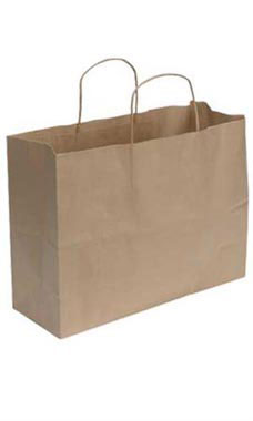 Large Natural Kraft Paper Shopping Bags - Case of 250