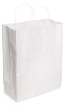 Jumbo White Kraft Paper Shopping Bags - Case of 200
