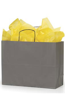 Large Storm Gray Paper Shopping Bags - Case of 100