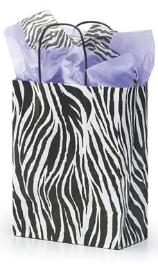 Medium Zebra Skin Paper Shopping Bags - Case of 100