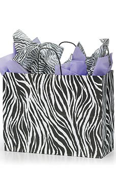 Large Zebra Skin Paper Shopping Bags - Case of 100