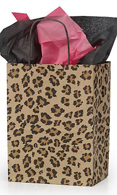 Medium Leopard Brown Print Paper Shopping Bag
