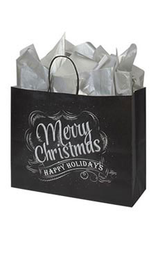 Large Rustic Christmas Chalkboard Paper Shopping Bags – Case of 25