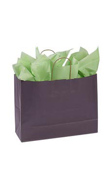 Large Plum Paper Shopping Bags - Case of 25