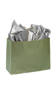 Large Metallic Sage Paper Shopping Bags - Case of 100