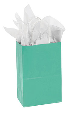 Small Turquoise Paper Shopping Bags - Case of 25