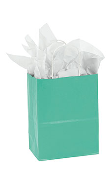 Medium Turquoise Paper Shopping Bags - Case of 25