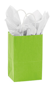 Small Lime Green Paper Shopping Bags - Case of 100
