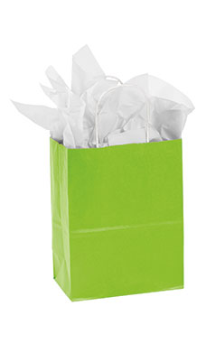 Medium Lime Green Paper Shopping Bags - Case of 100