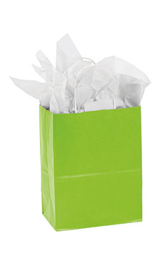 Medium Lime Green Paper Shopping Bags - Case of 25