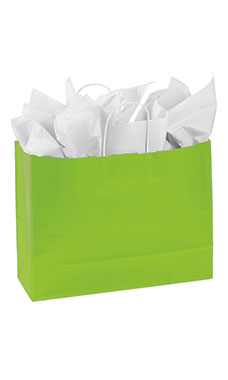 Large Lime Green Paper Shopping Bags - Case of 100