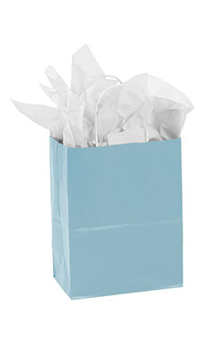 Medium Powder Blue Paper Shopping Bags - Case of 100