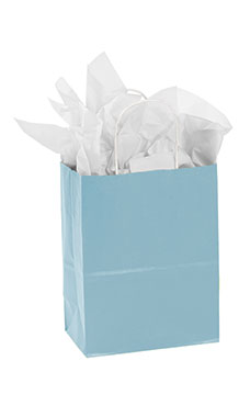 Medium Powder Blue Paper Shopping Bags - Case of 25