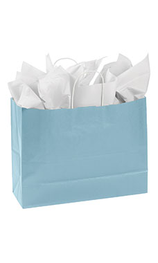 Large Powder Blue Paper Shopping Bags - Case of 100
