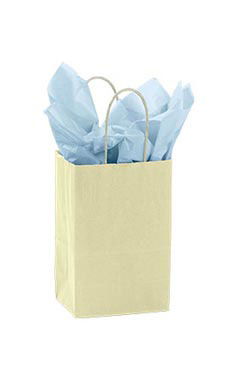 Small Ivory Paper Shopping Bags - Case of 25
