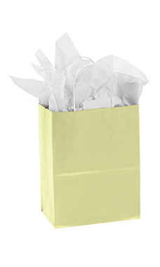 Medium Ivory Paper Shopping Bags - Case of 25