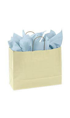 Large Ivory Paper Shopping Bags - Case of 100