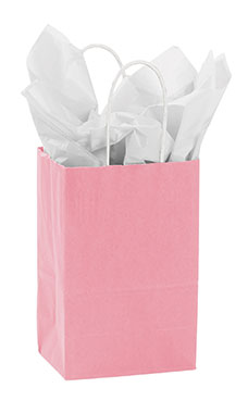 Small Pink Paper Shopping Bags - Case of 100