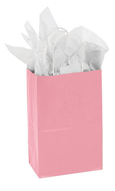 Small Pink Paper Shopping Bags - Case of 25