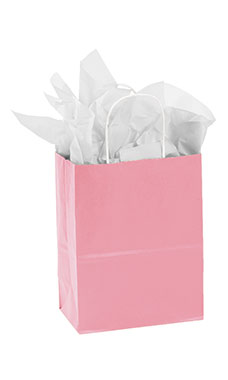 Medium Pink Paper Shopping Bags - Case of 100