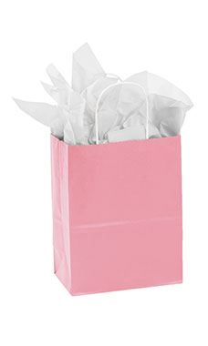 Medium Pink Paper Shopping Bags - Case of 25