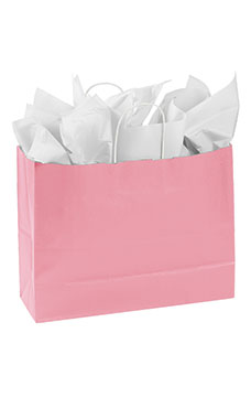 Large Pink Paper Shopping Bags - Case of 100