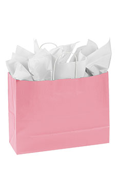 Large Pink Paper Shopping Bags - Case of 25