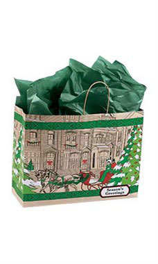 Large Street Scene Paper Shopping Bags - Case of 25