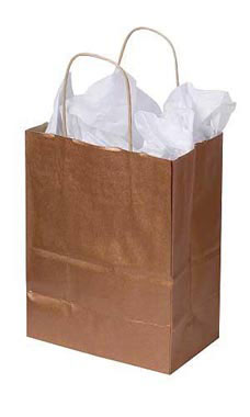 Medium Metallic Copper Paper Shopping Bags - Case of 100