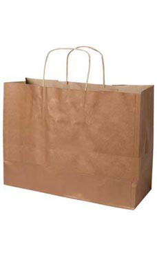 Large Metallic Copper Paper Shopping Bags - Case of 100
