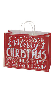 Large Red Modern Christmas Chalkboard Paper Shopping Bag - Case of 100