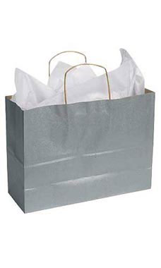 Large Metallic Silver Paper Shopping Bags - Case of 100