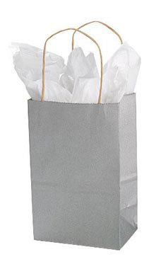 Small Metallic Silver Paper Shopping Bags - Case of 100