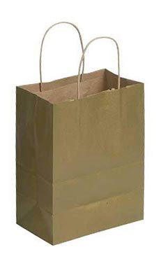 Medium Kraft Ping Bags With Handles Metallic Gold Supply