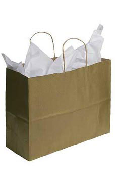 Large Metallic Gold Paper Shopping Bags - Case of 100